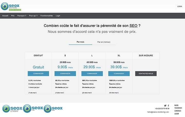 oseox monitoring prix