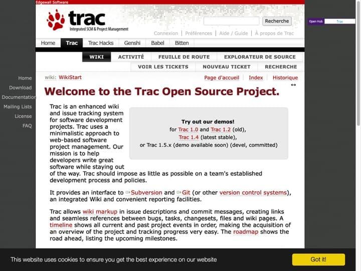 Meilleur Gestion de projets logiciel : Trac Edgewall, Axosoft