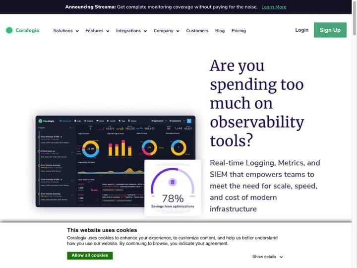 Meilleur logiciel d'audit des logs : Coralogix, Bigpanda