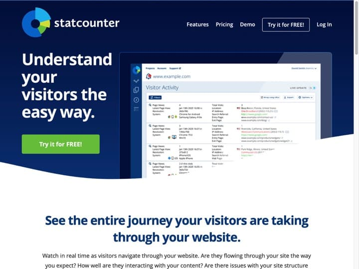 Meilleur logiciel de compteur de visites pour site internet : Statcounter