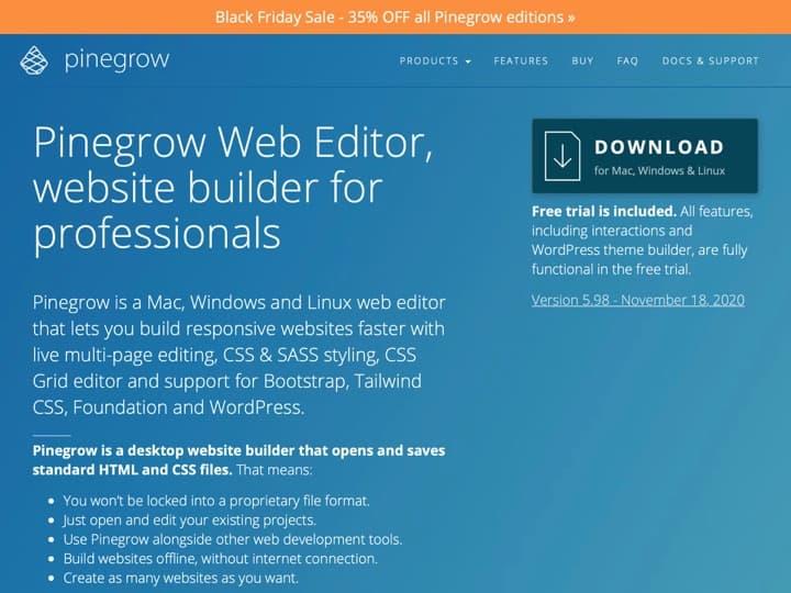 Meilleur logiciel de conception de sites internet : Pinegrow, Dudamobile
