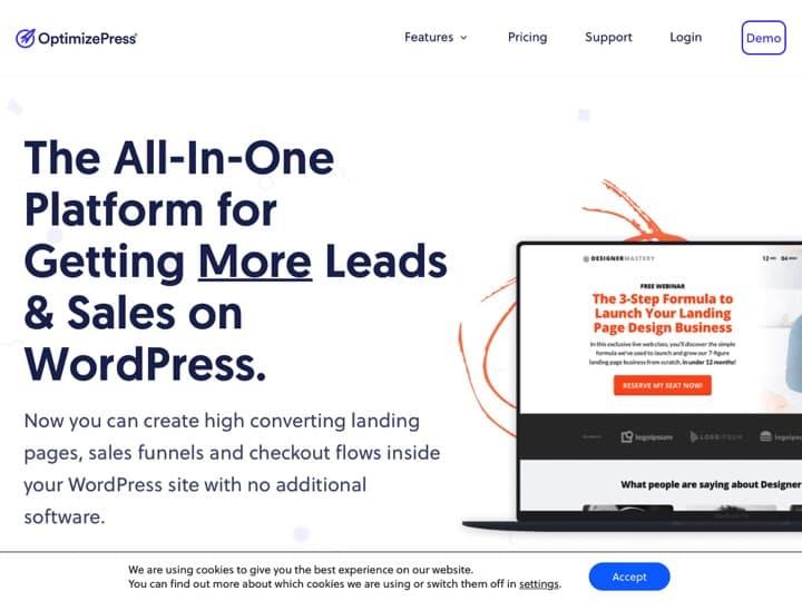 Meilleur logiciel de création de landing page : Optimizepress, Leadpages