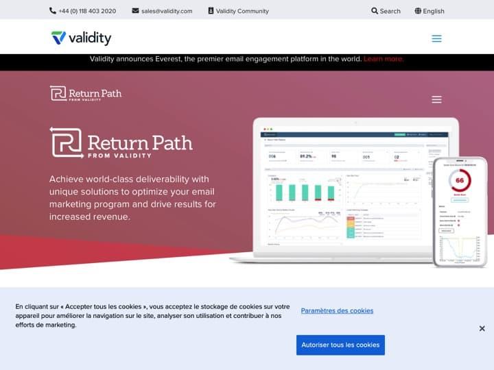 Meilleur logiciel de délivrabilité des emails : Returnpath, Emailonacid
