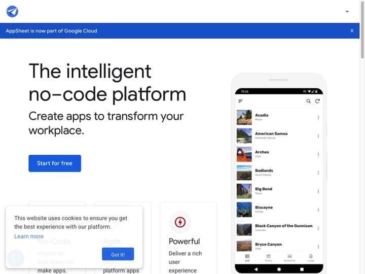 Meilleur logiciel de développement d'applications mobiles : Appsheet, Xamarin
