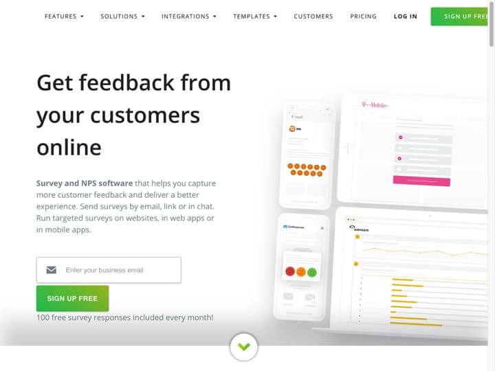 Meilleur logiciel de feedbacks des utilisateurs : Survicate, Satisfactory
