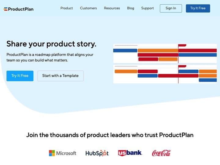 Meilleur logiciel de feuille de route produits : Productplan, Roadmap Planner