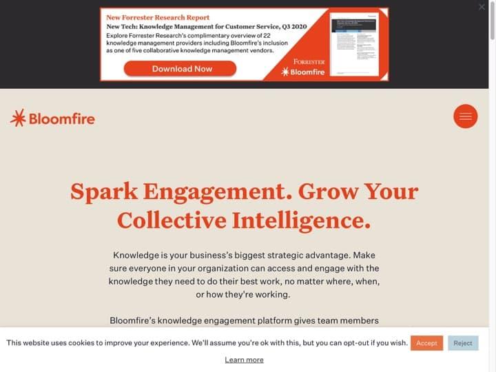 Meilleur logiciel de gestion de l'innovation : Bloomfire, Workbright