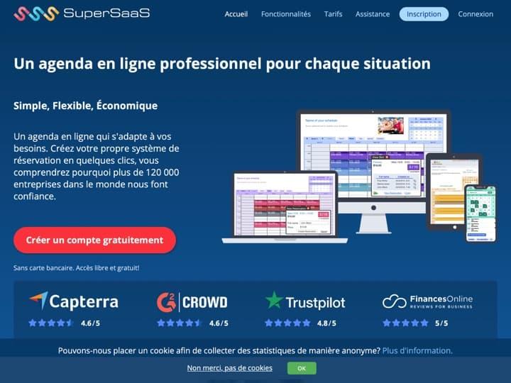 Meilleur logiciel de gestion des réservations : Supersaas, Simplybook