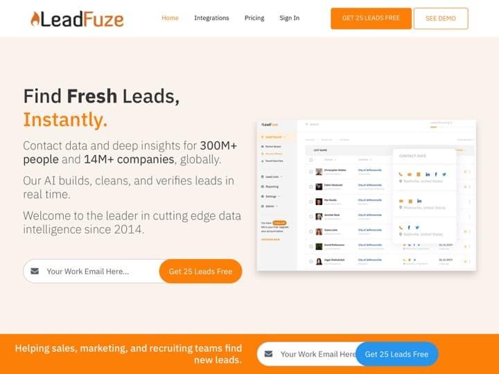 Meilleur logiciel de listes de leads : Leadfuze, Lead411
