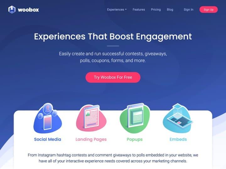 Meilleur logiciel d'engagement et conversion : Woobox, Sumo