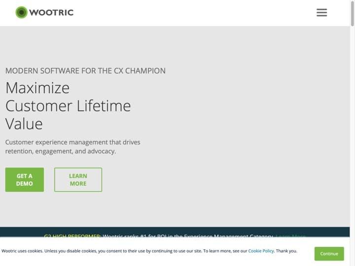 Meilleur logiciel d'évaluation de la satisfaction clients : Wootric, Turntonetworks