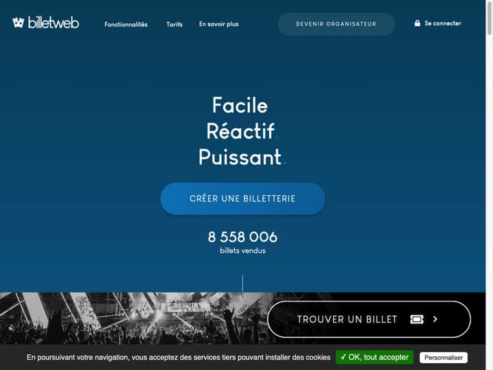 Meilleur logiciel Organisation d'Evénements : Billetweb, Tickasso