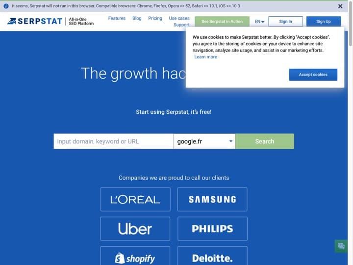 Meilleur logiciel Référencement - SEO : Serpstat, Hotjar
