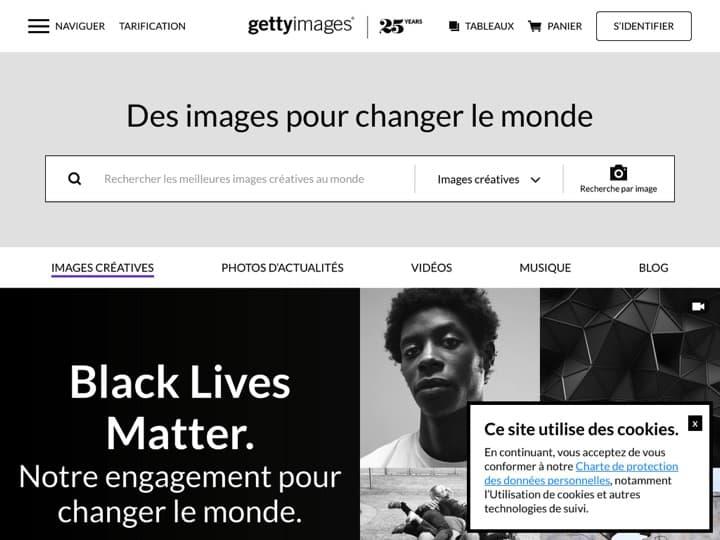 Meilleure marketplace de contenu : Gettyimages, Iconfinder