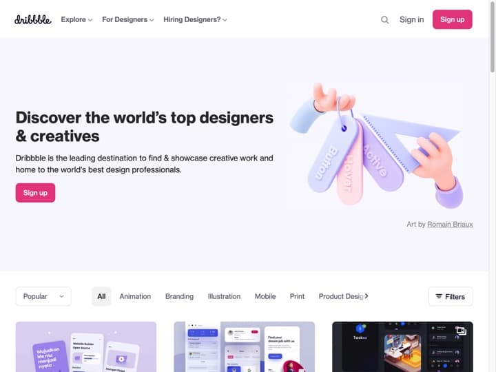 Meilleure marketplace de talents : Dribbble, Staffsquared