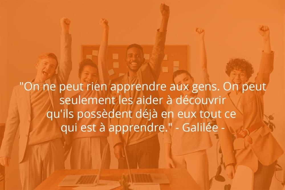 Citation de Galilée sur le travail d'équipe et les personnes.