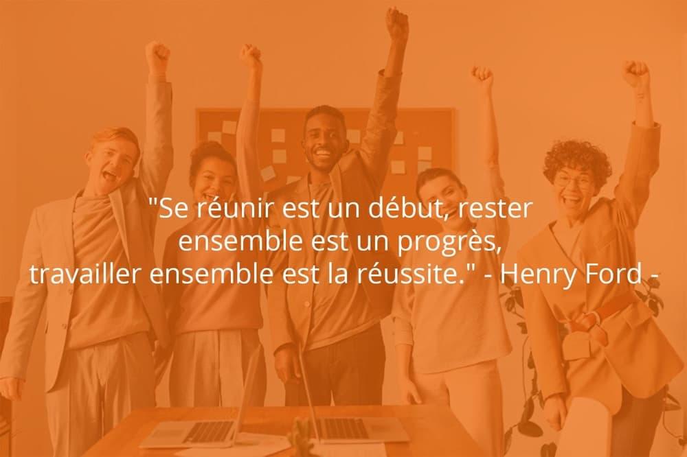 Citation de Henry Ford sur le travail d'équipe et les réunions.
