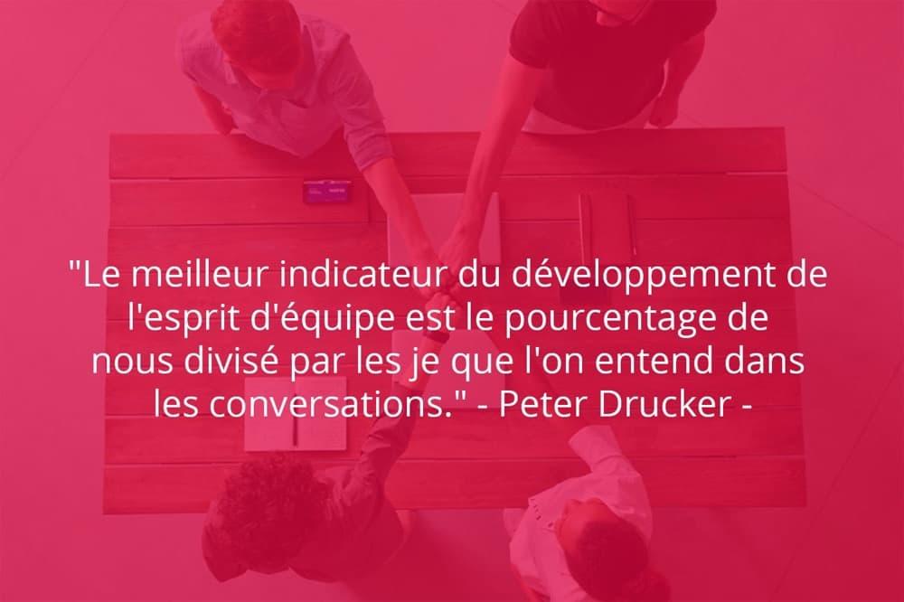Citation de Peter Drucker sur le travail d'équipe et le développement.