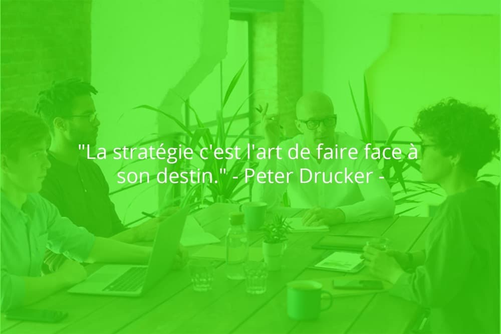 Citation de Peter Drucker sur le travail d'équipe et la stratégie.