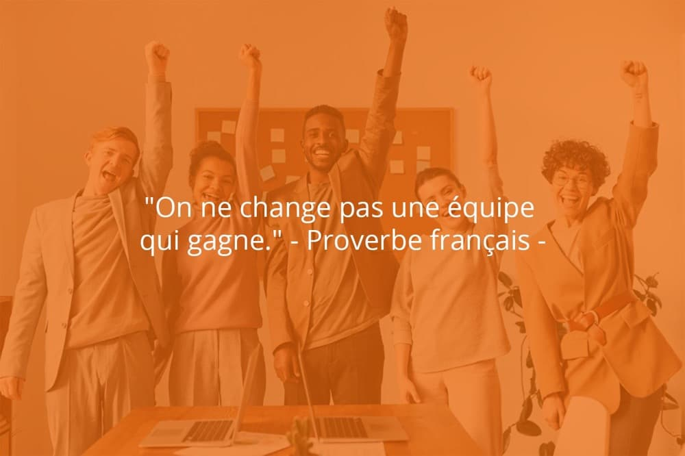 Citation de Proverbe français sur le travail d'équipe et le sport.