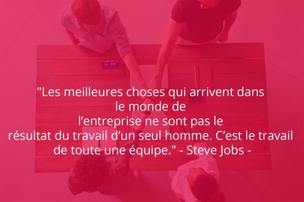 Citation de SteveJobs sur le travail d'équipe et le monde professionnel.