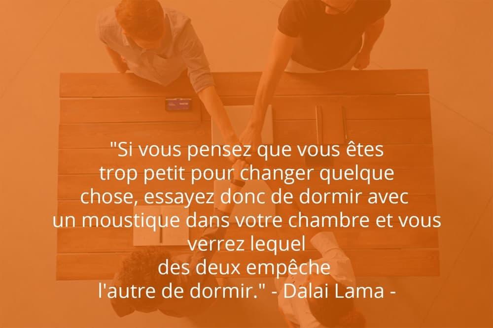 Citation de Dalai Lama sur le succès et l'importance de chacun.