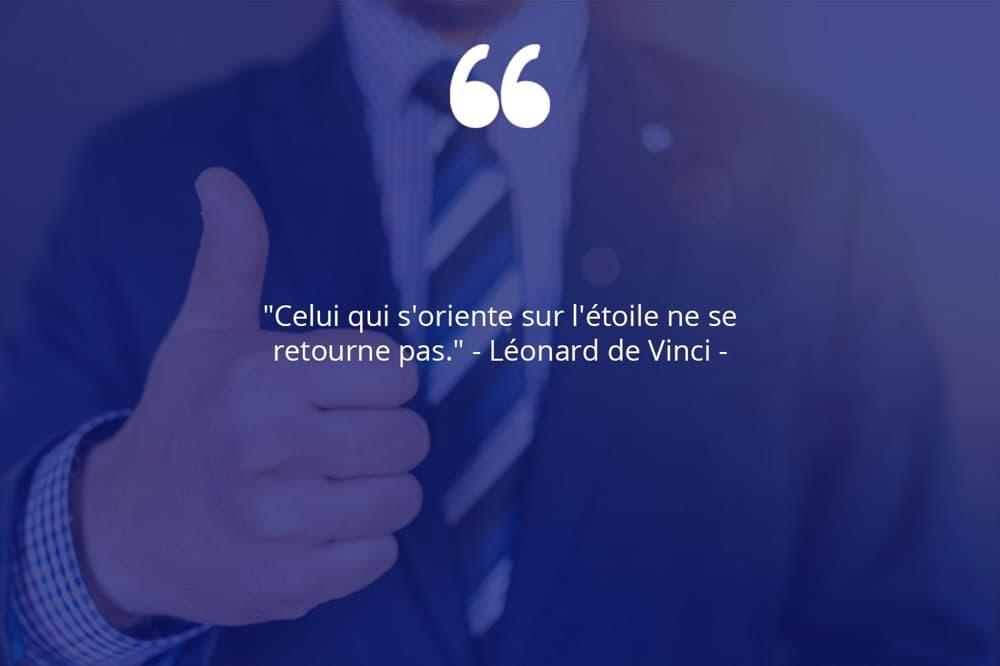 Citation de Léonard de Vinci sur le succès et la persévérance.