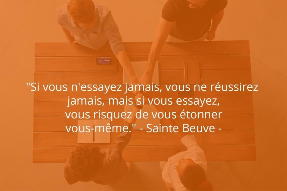 Citation de Sainte Beuve sur le succès et la réalisation de soi.
