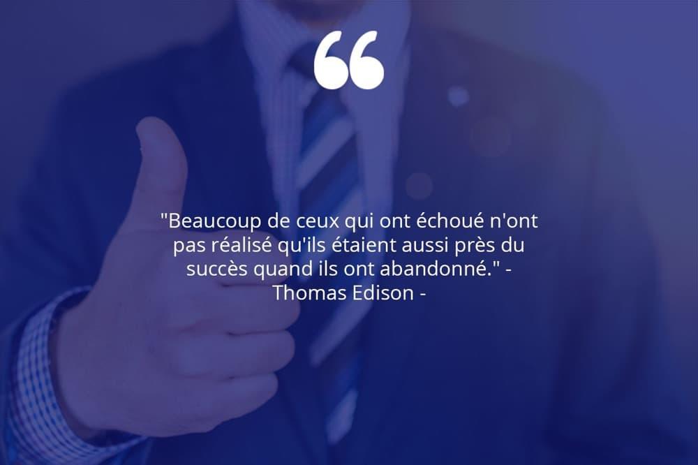 Citation de Thomas Edison sur le succès et les échecs.