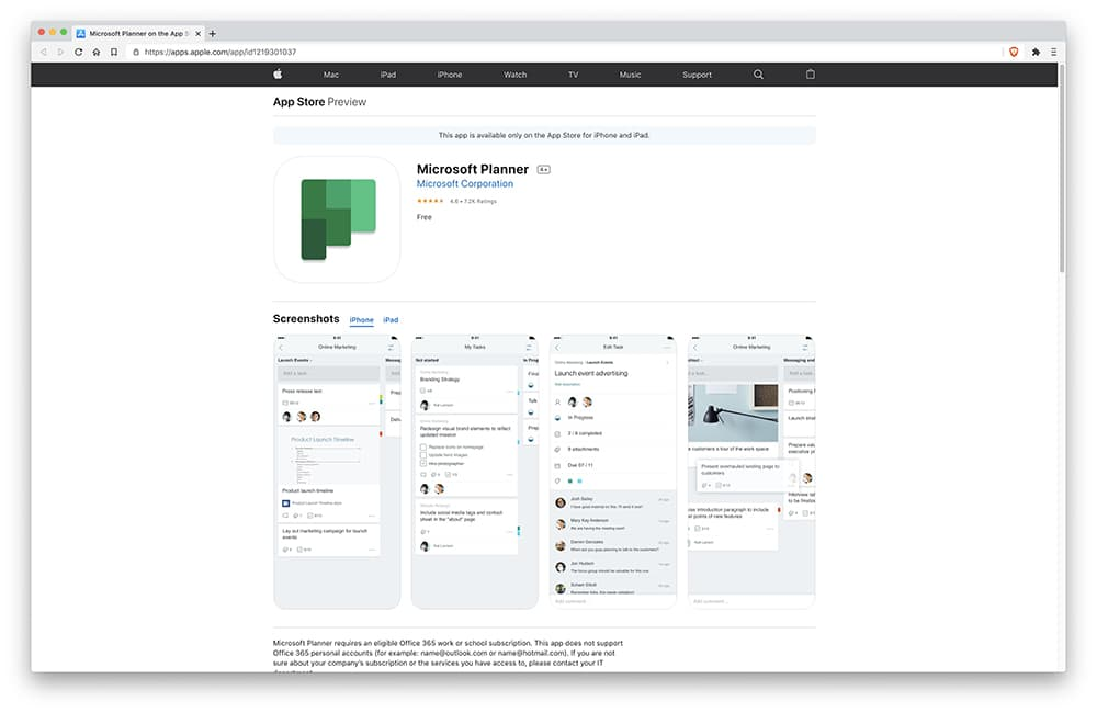 Interface Microsoft Tasks / Microsoft Planner