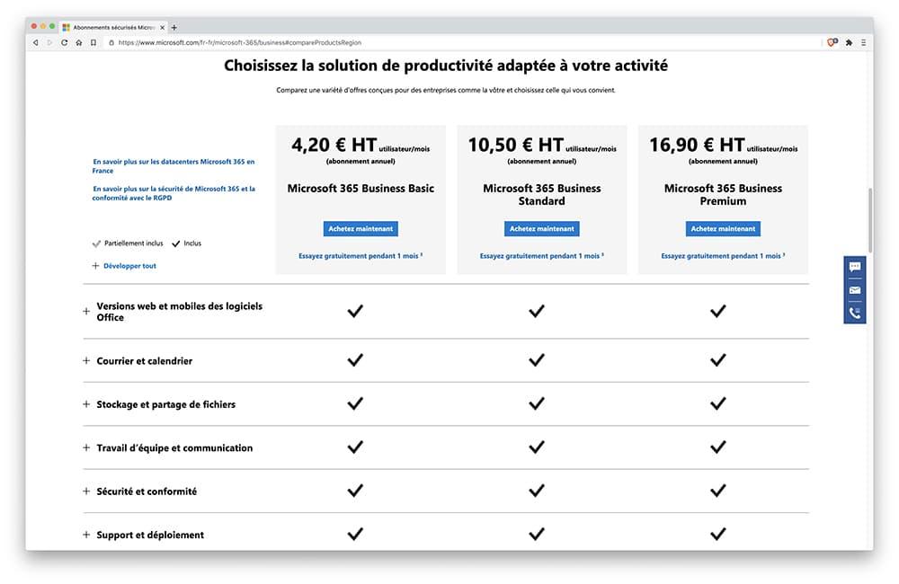Prix Microsoft Tasks / Microsoft Planner