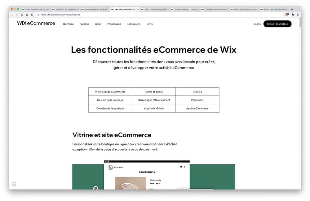 Fonctionnalités Wix Stores