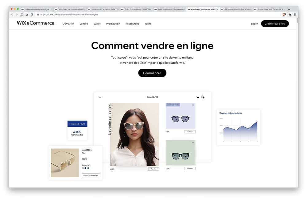 Interface Wix Stores