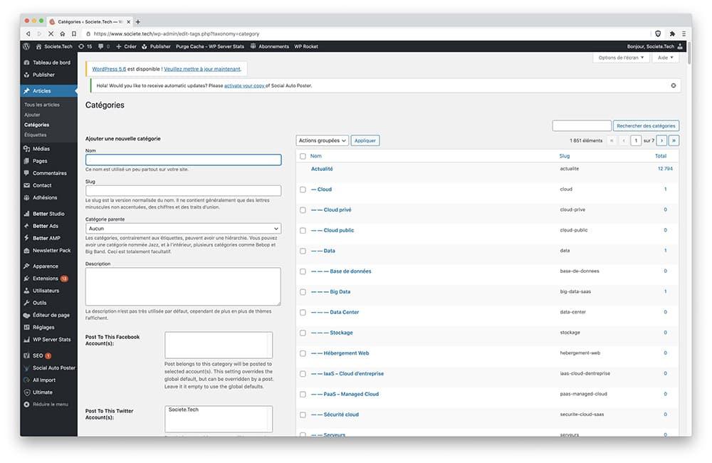Fonctionnalités WordPress